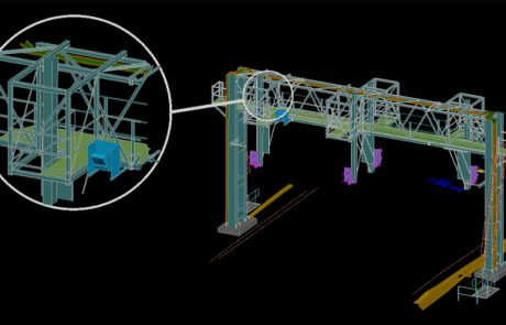 Railway Signal Gantry 3D CAD Model with Closeup