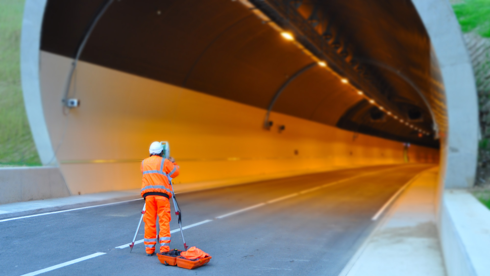 Asset Management Surveyor at entrance of Hinehead Tunnel