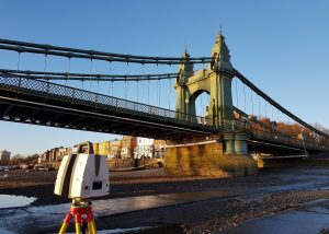 Leica P40 Scanner scanning Hammersmith Bridge underside from the River Thames at low tide