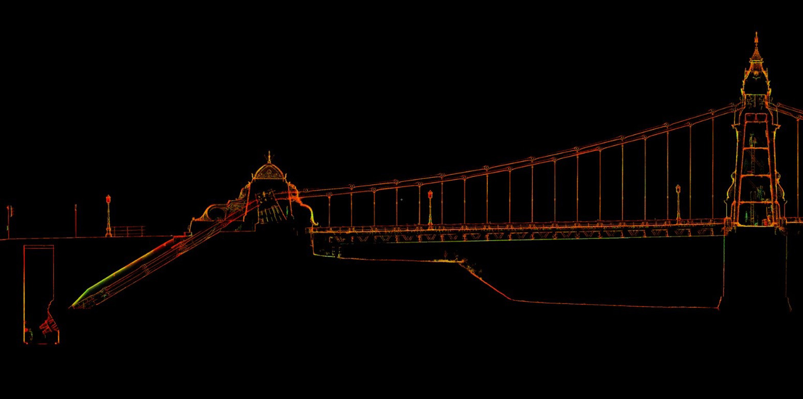 Section through intensity pointcloud showing towers, chains, saddles, chain tunnels and anchorages of Hammersmith Bridge