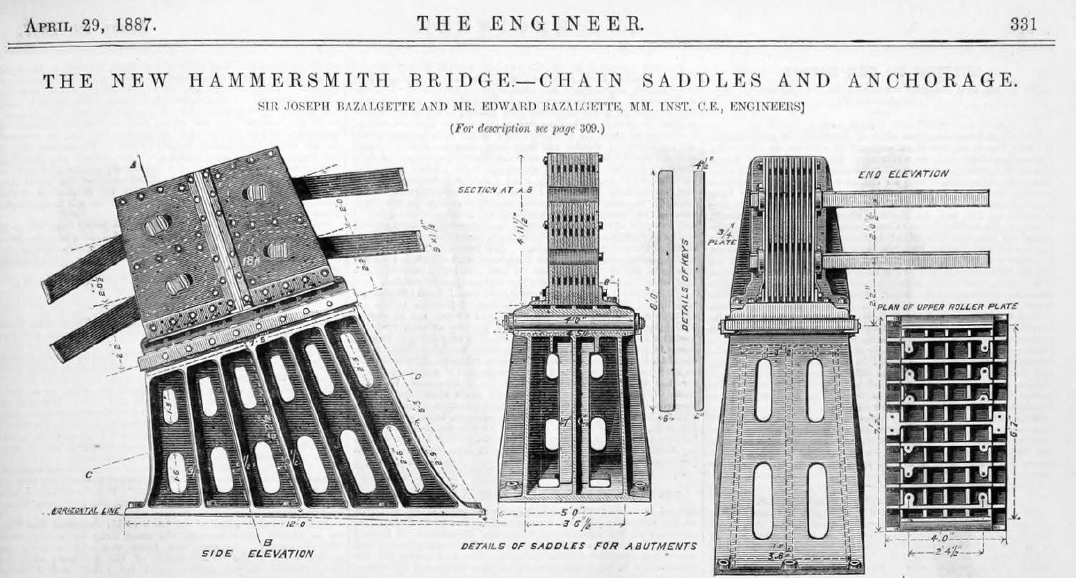 Hammersmith Bridge Anchorage and Chain Saddles Design Drawing