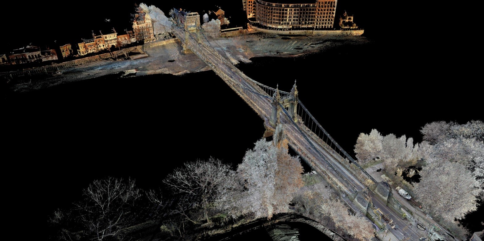 Colour pointcloud of Hammersmith Bridge.